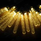 6M 30LEDs Solar Powered Icicle Bubble String Lights Outdoor Wedding Party Decor warm light_(ME0004502)