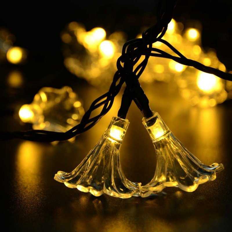 6M 30LEDs Solar Powered Morning Glory Shape String Light with Stent warm light_(ME0004702)