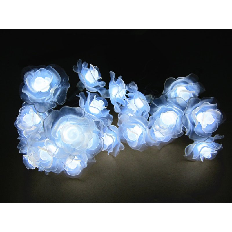 6M 30LEDs Waterproof Rose Flower Shape Solar String Light Outdoor Wedding Decor White light_(ME0004201)