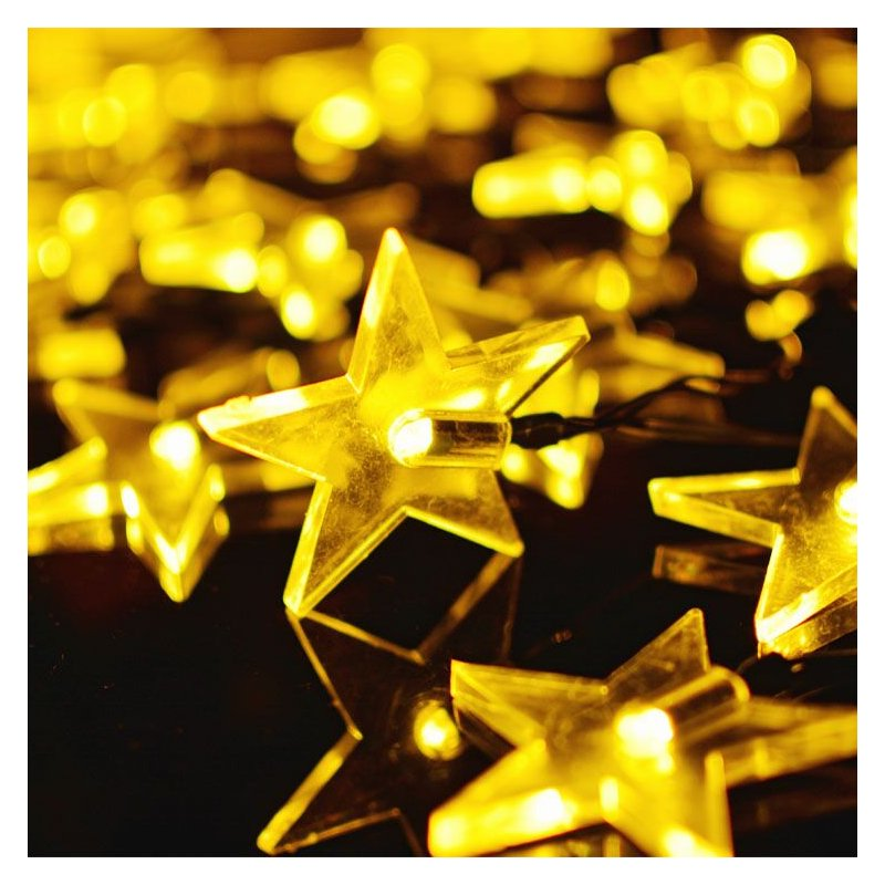 6M 30LEDs Waterproof Solar Powered Five Pointed Star Shape String Light for Decor warm light_(ME0004802)
