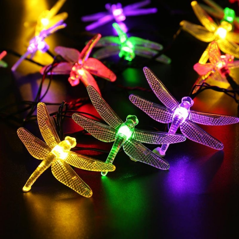 6M 30LEDs Waterproof Dragonfly Shape Solar Powered String Light Color light_(ME0004603)