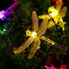6M 30LEDs Waterproof Dragonfly Shape Solar Powered String Light warm light_(ME0004602)