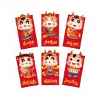 6PCS Chinese Red Envelope Hongbao Year of the Ox New Year Spring Festival Birthday Marry Red Gift Envelope H82