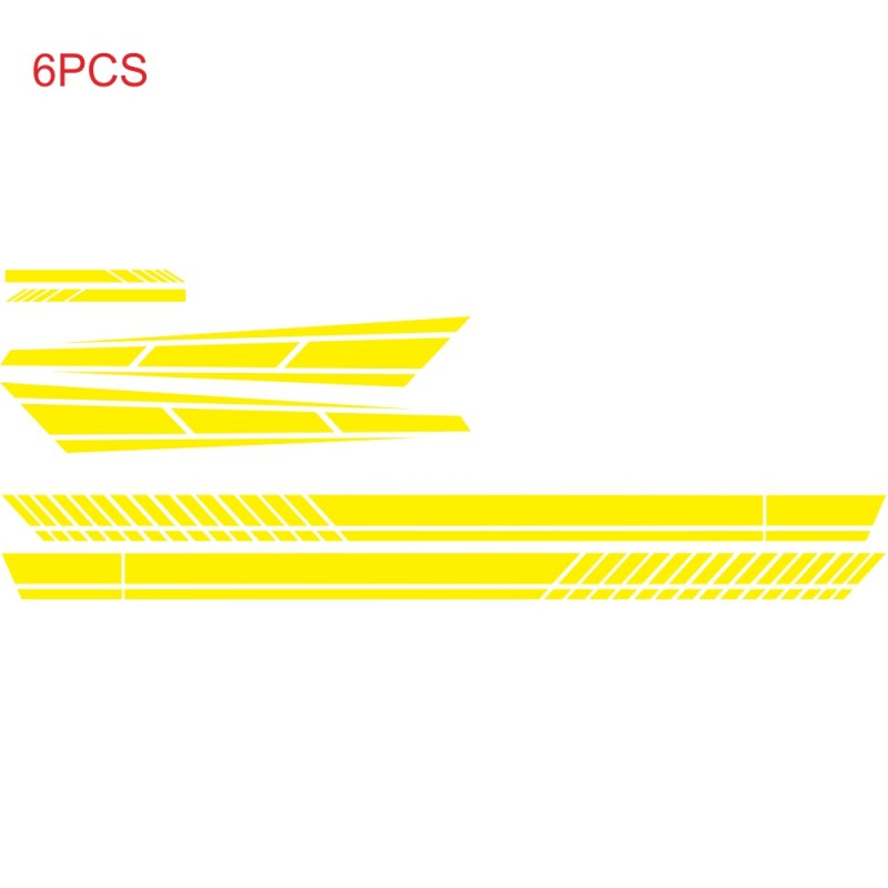 6PCS Long Stripe Graphics Car Racing Side Body Hood Mirror Vinyl Decal Sticker yellow