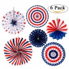 6PCS SET Patriotic Decorations Party Folding Paper Fan for Lincoln s Washingtons Birthday