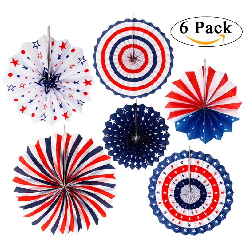 [US Direct] 6PCS/SET Patriotic Decorations Party Folding Paper Fan for Lincoln's Washingtons Birthday