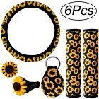 6PCS Sunflower Steering Wheel Cover Sunflowers KeyringCar Vent Seat Belt Cover