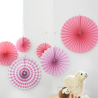 6PCS Super Pretty Paper Fans Round Wheel Disc for Party Event Wedding Home Decoration