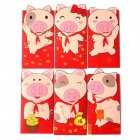 6Pcs Cartoon Pig Pattern Printing Festival Lucky Money Envelopes