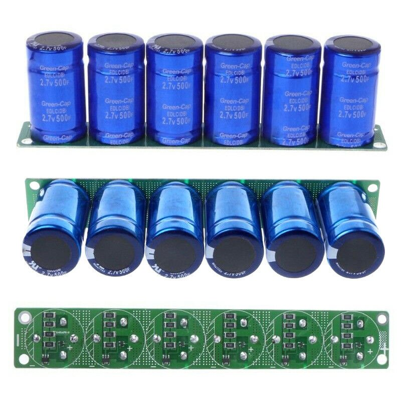 6Pcs Farad Capacitor 2.7V 500F 35*60MM Super Capacitor with Protection Board blue