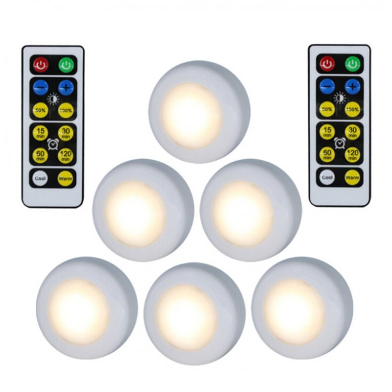 6Pcs LED 2 Colors Remote Control Cabinet Lamp Decoration Light for Home Hotel white light + warm white light