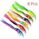 6Pcs/Lot 10CM Plastic Squid Tape with Tassel Fishing Lures Tackle Squid Lures Fishing Bait for Seawater or Freshwater Big Fish 6 pcs