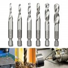 6Pcs M3-M10 1/4in Hot Composite Tap Thread Spiral Screw Hex HSS Screw Drill Bit(Silver)