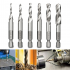 6Pcs M3 M10 1 4in Hot Composite Tap Thread Spiral Screw Hex HSS Screw Drill Bit Silver