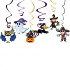 6Pcs/Set Halloween Spiral Hanging Pendant Cartoon Ghost Bat Shape Decoration 6 pieces