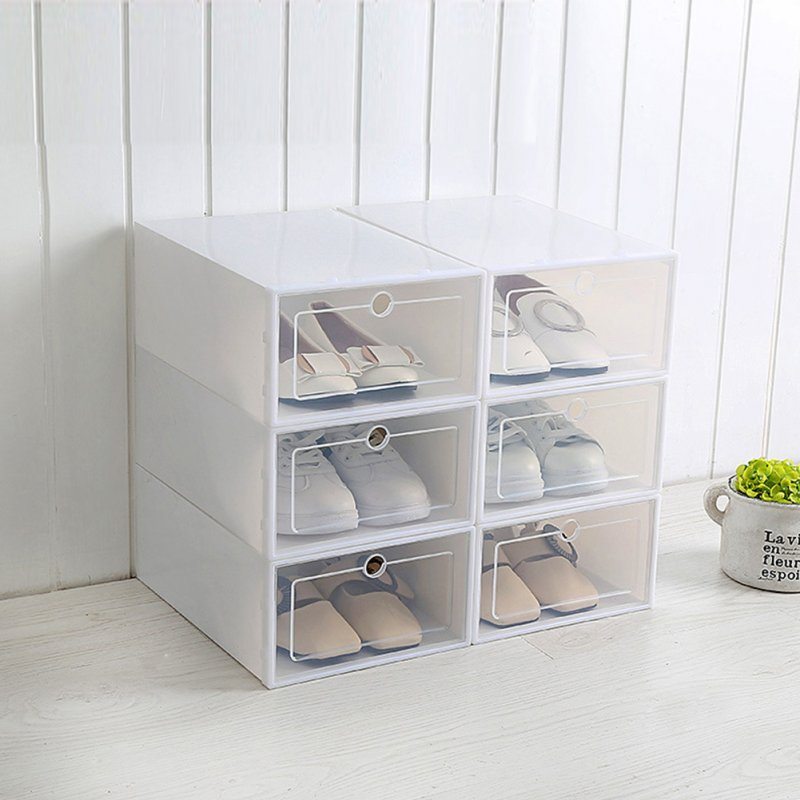 6Pcs/Set Multifunction Unisex Transparent Storage Box with Cover for Shoes White