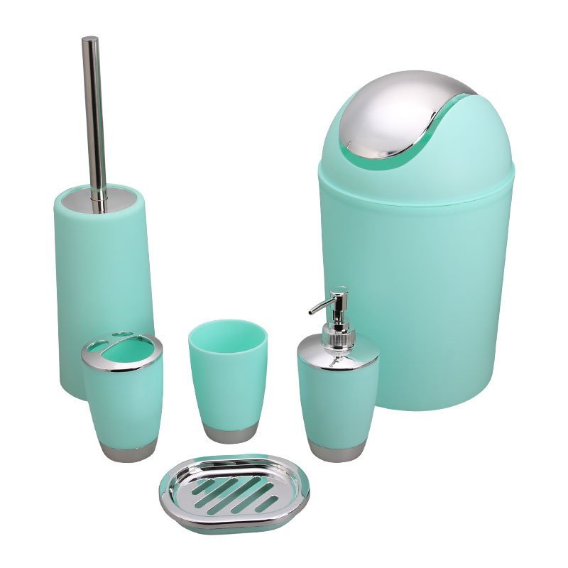 6Pcs/Set Trash Can Toilet Brush Liquid Dispenser Soap Box Cup Toothbrush Holder Set for Bathroom Mint Green