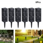 6Pcs Waterproof Solar Powered Hollow Lawn Lamps White light