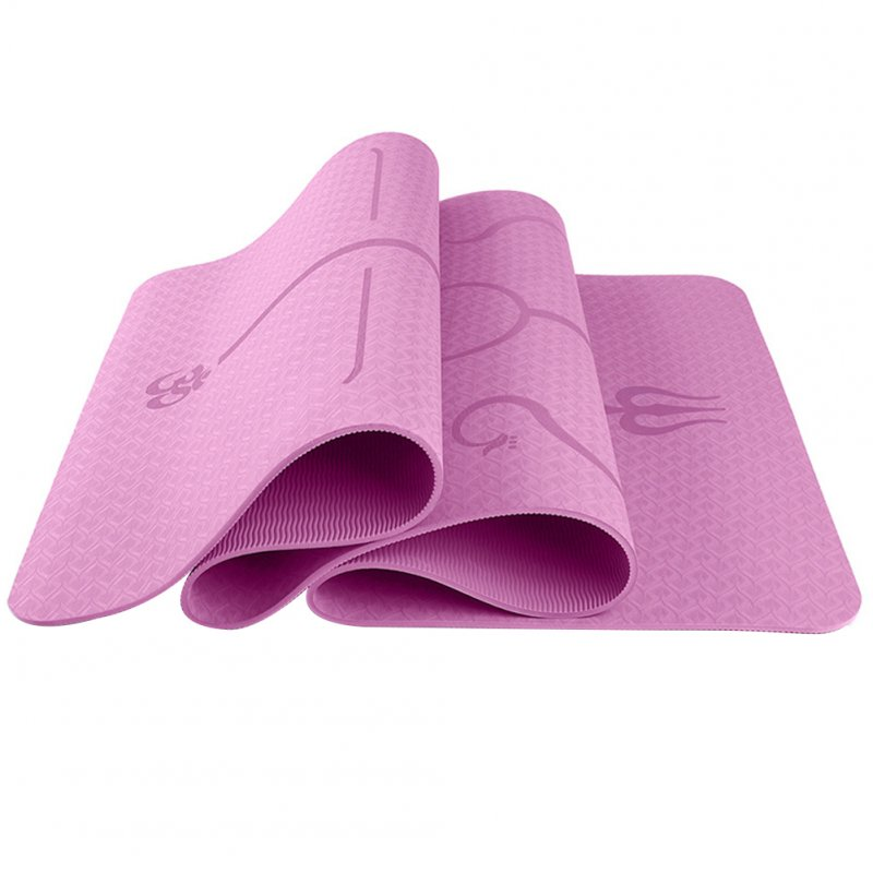 6mm Multi-functional Environmental Protection Yoga Pad TPE Yoga Mat Fitness Pad Body Line Style Pink_183*61*0.6 body position line