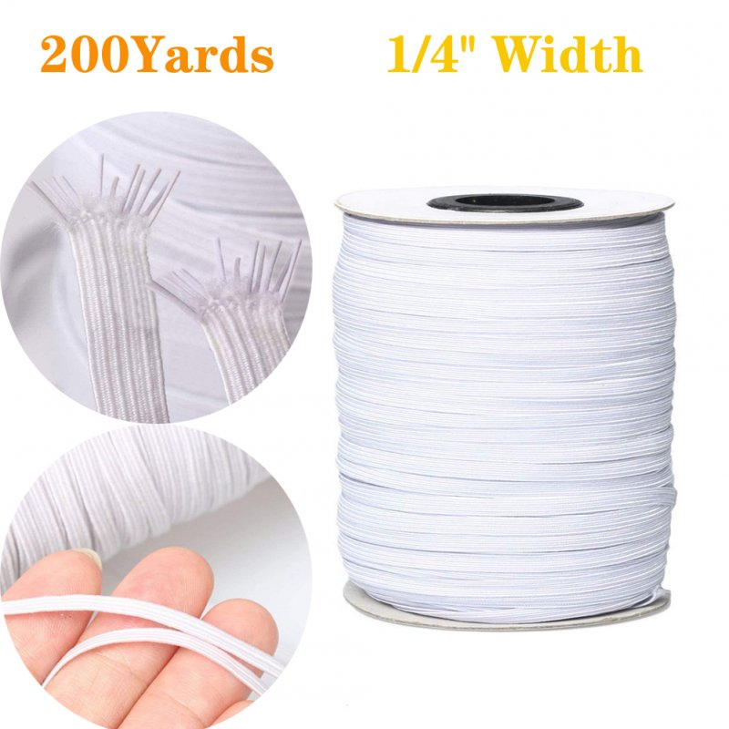 6mm Width Elastic Bands for Sewing Braided Elastic Cord Elastic String Rope Elastic Band 200 yards
