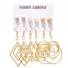 6pairs set Women Fashion Pearl Five pointed Star Large Circle Earrings Set Gold