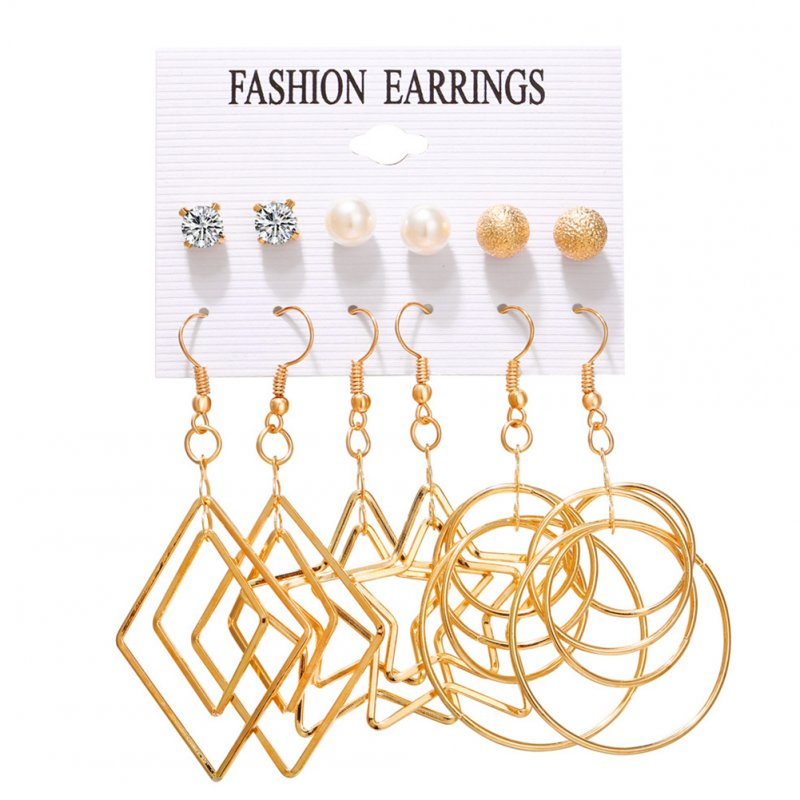 6pairs/set Women Fashion Pearl Five-pointed Star Large Circle Earrings Set Gold