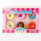 6pcs Cute Donut Eraser Writting Rubber Eraser Primary School Student Stationery Pink
