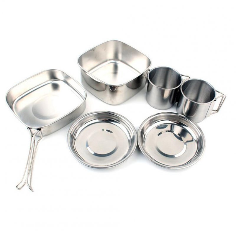 6pcs/set Outdoor Cookers Camping Stainless Steel Mountaineering Picnic Bowls 6-piece stainless steel pot_16.5X16X10cm