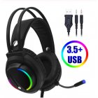 7.1 Head-mounted Headphones Surround Sound Usb 3.5 Mm with Cable and Optical Rgb for Tablet / Pc /xbox / Ps4 3.5MM+USB interface