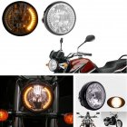 7  35W H4 Motorcycle Headlight Turn Signal Halogen Front Light for  BWM Suzuki Kawasaki Black shell