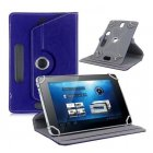 7 8 9 10 Inch Universal 360 Degree Rotating Four Hook Leather Tablet Protection Case Dark blue 8 inch