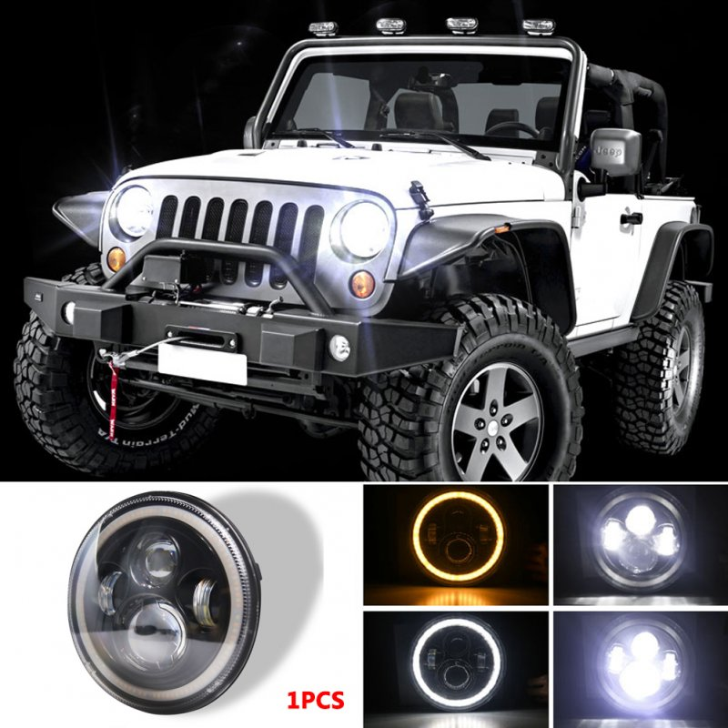 7 INCH 140W  LED Headlights Halo Angle Eye For Jeep Wrangler CJ JK LJ 97-17