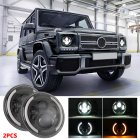 7 INCH 200W LED Headlights 6000K+3000K Halo Angle Eye For Jeep Wrangler CJ JK LJ 97-17
