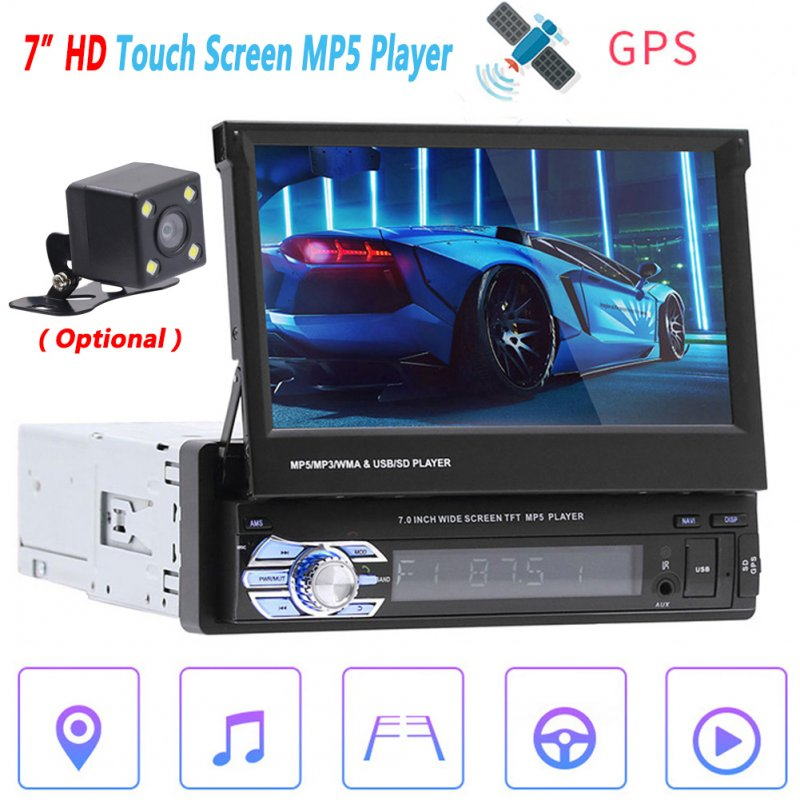 7 Inch Car Auto MP5 Player AM FM Radio GPS Navigation Retractable 1 DIN Touch Screen USB Bluetooth Receiver Car Accessories black_Without camera