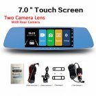 7 Inch Touch Screen Car DVR Dual Lens Camera Rearview Mirror Video Recorder Dash Cam Auto Camera
