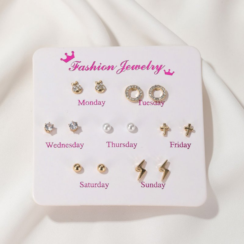 7 Pair of Women's Earrings Various Shape Combination Earrings lightning