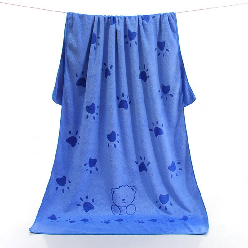 70x140 Cartoon Printing Microfiber Absorbing Water Beach Towel for Dog Bath Feet bear blue_70*140