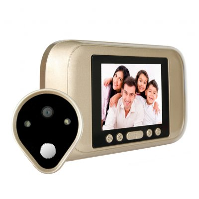 720P Intelligent Electronic Cat Eye HD Video Doorbell With Human Induction Built in Gold