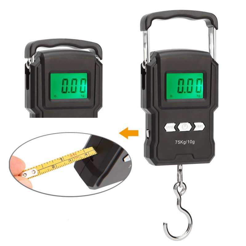 75Kg Electronic Weighing Scale LCD Digital Display Hanging Hook Scale for Fishing Travel A22 portable electronic scale with ruler