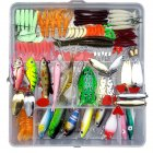 75pcs/94pcs/122pcs/142pcs Fishing Lures Set Spoon Hooks Minnow Pilers Hard Lure Kit In Box Fishing Gear Accessories 122 pieces (random color samples)