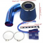76mm 3inch Universal Car Cold Air Intake Filter Induction Pipe Hose System Kit blue