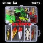 78pcs/set Fishing Lure Set Artificial Bait Fresh Water Saltwater Hard Bait Popper Soft Baited Glitter 78 items