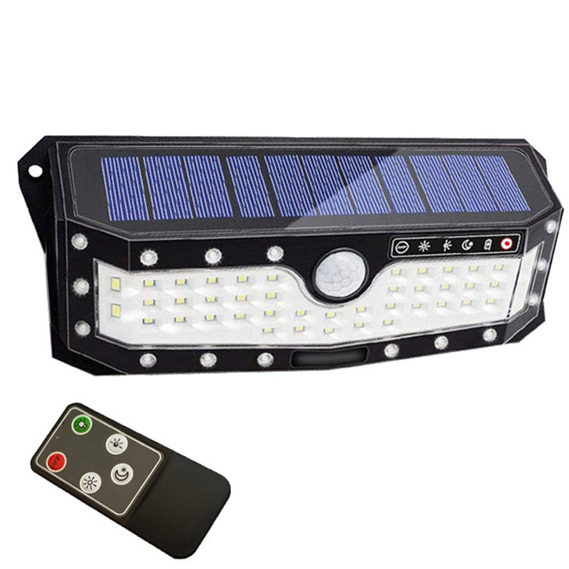 79LEDs Solar Lights Outdoor Motion Sensor Light USB Charge 3 Modes Lighting Garden Wall Lamp 79 lights black with remote control