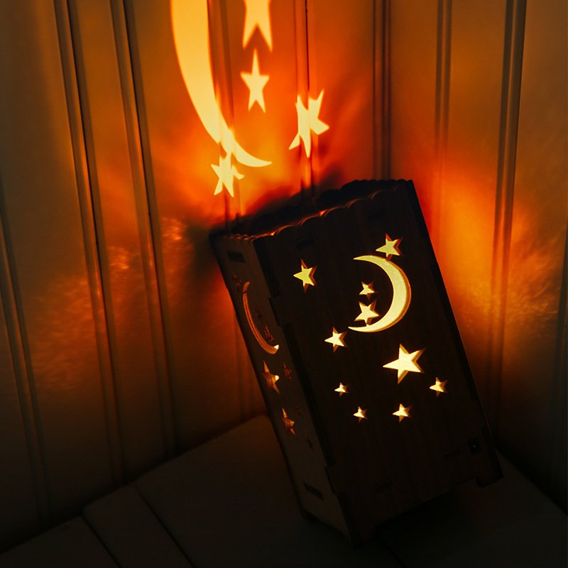 7Colors Night Light Moon Stars Hollow Out USB Projection Lamp for Decoration Colorful