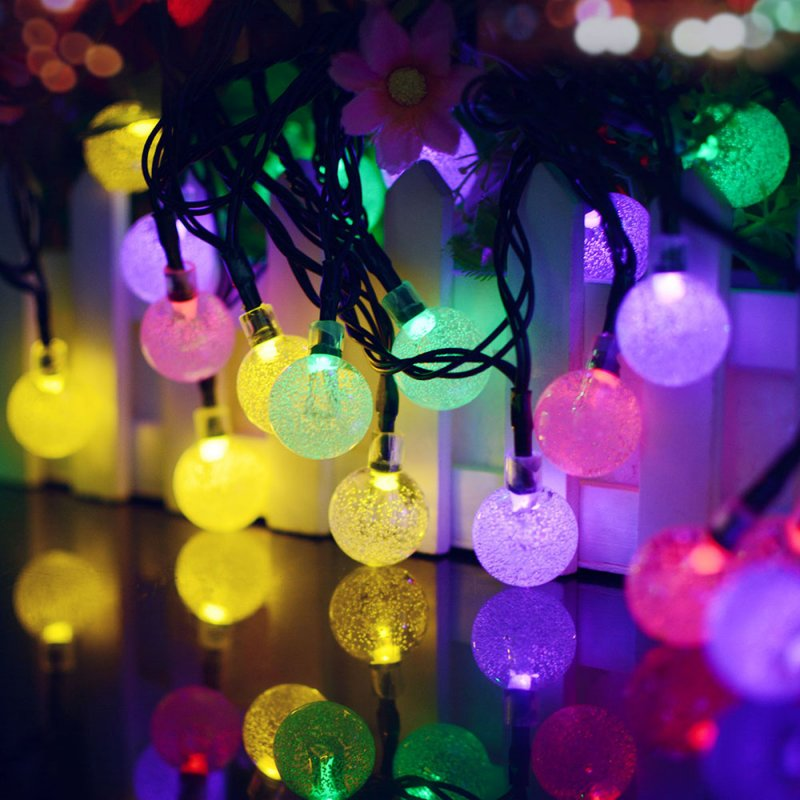7M 50LEDs Solar Powered Bubble Ball Shape String Lights for Garden Lawn Party Wedding Decor Color light_(ME0003403)