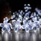 7M 50LEDs Waterproof Peach Blossom Shape Solar Powered String Light for Decor White light_(ME0003901)