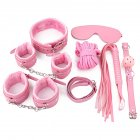 7Pcs/Set Adult Bondage Sex Fetish Tool SM Cosplay Fantasy Plush Adjustable Restrain Kit Couple Sex Game Toy Kit 7 pieces of pink
