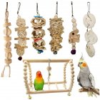 7Pcs/Set Blocks Chewing Biting Toy for Bird Parrot Pet Cage Hanging Pendant 7pcs