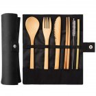 7Pcs/Set Portable Kids Bamboo Cutlery Set with Straw for Travel black