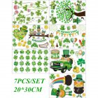 7Pcs Window Clings Decorations Static Window Sticker Decals for St. Patrick's Day Home Office Decor